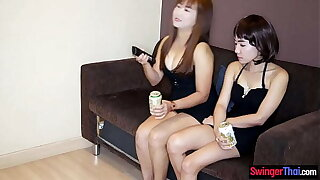 Inferior lesbian Asian MILFs using dildos not susceptible each others pussy