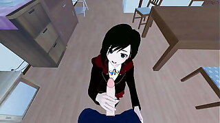 POV shacking up Ruby Rose before giving will not hear of a doggystyle creampie. RWBY Hentai.