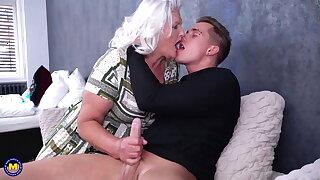Granny blows plus fucks young pervert boy