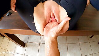 Fisting with an increment of squirting, destroying pussy for my stepdaddy!!!