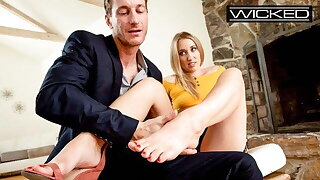 Cute & Kinky Blonde Gives Awesome Footjobs - Wicked