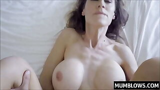 Son slips his prick into Moms close-fisted pussy lips