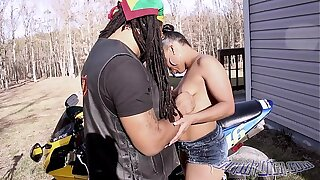 Take on oneself Whoe gets his dick swell up outside her high horse bike by Layla Perez