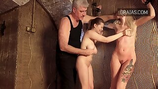 Naked girls being whipped