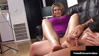 Athena Pleasures Gives Fabulous Footjob And Gets Milk Encompassing Over!